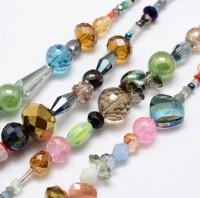 DIY-7018  混色混款電鍍玻璃珠絞線diy手工製作串珠鏈1條