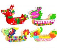 MTK-003 木質龍舟DIY兒童親子手工塗色 彩繪白坯幼稚園繪畫塗鴉