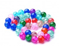 DIY-7006 10mm彩色爆花玻璃圓手工串珠飾品配件-40粒裝