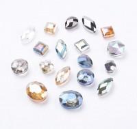DIY-7007 混款彩色切面玻璃珠子手工玻璃串珠-10個裝