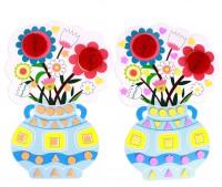 MKO-004 diy教師節花束手工diy幼稚園手工製作材料馬賽克花瓶康乃馨