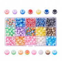 DIY-6001  8mm彩虹色條紋樹脂串珠