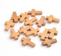 DIY-5085  十字架駝色木頭珠子10個裝 diy手工串珠