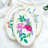CAC-005 珍愛手工刺繡DIY材料包橢圓立體繡植物花卉初學
