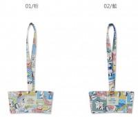 SC-12202 台灣花布飲料杯提袋/減塑行動環保杯袋/手提飲料袋-漫遊紐約貓咪