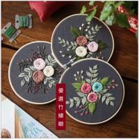 JHC-016 刺繡diy材料包手工製作創意初學布藝套件簡單植物花卉(含繡綳)