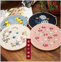 JHC-014 刺繡diy材料包竹繡繃手工創意布藝歐式立體花卉(含繡綳)