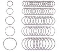 DIY-8014-8018 銀色開口環書圈 多款圓形活頁環 diy筆記本裝訂圈5個裝