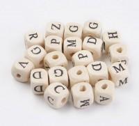 DIY-5078  10mm正方形26個英文字母珠子木珠diy漂白印花木珠串珠-5套