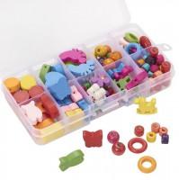 DIY-5082  彩色混合形狀兒童木珠套裝 趣味益智手鏈串珠材料