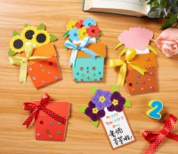 MKO-006 diy教師節禮物賀卡送老師手工diy花朵賀卡製作材料兒童幼稚園
