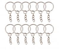 DIY-8009-8010 25mm鐵鑰匙圈帶延長鏈 高檔鑰匙扣配件