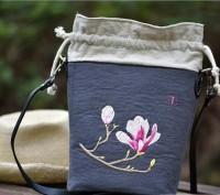 玉蘭花單肩斜跨刺繡材料包