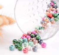DIY-5083  夢幻效果彩色7*8mm木質珠子 混色木珠-100粒裝