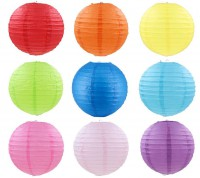 MDM-002 20cm彩色紙燈籠中秋節掛飾兒童手工材料diy繪畫燈籠