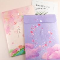 台灣珠友文具 - A4 PP直式公文袋/單扣-櫻の日