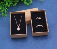 DIY-3020 8x5x2.5cm牛皮首飾紙盒 戒指項鍊禮品紙盒2個裝