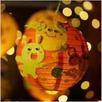 ***有少量現貨***MKM-014 中秋節燈籠兒童玩具手工diy材料包發光卡通燈籠幼稚園裝飾掛件