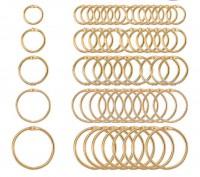 DIY-8019-8023 金色開口環書圈 多款圓形活頁環 diy筆記本裝訂圈5個裝