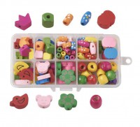 DIY-5075  造型兒童木珠盒裝diy彩色益智木質串珠飾品配件材料