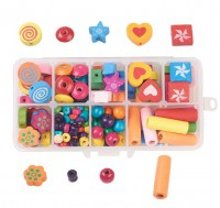 DIY-5081  幾何穿線彩色木珠子DIY串珠益智盒裝
