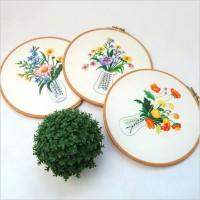 CAC-020 新款diy手工初學歐式花瓶花束布藝簡單立體刺繡材料包