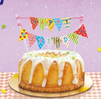 DE-11006 裝飾小插旗(三角旗/生日)/生日蛋糕裝飾/蛋糕插牌/蛋糕小插件-S