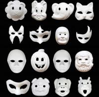MDS-001 兒童diy塗鴉填色紙漿面具 卡通圖案面具 白模繪畫環保白胚面具