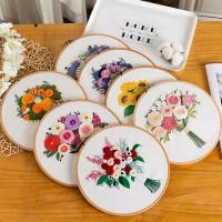 CAC-004 DIY手工初學刺繡手捧花花束布藝簡單立體絲帶繡材料包