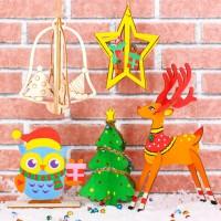 MDT-017 聖誕節立體木板畫 木質白坯兒童DIY聖誕樹掛件