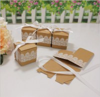DIY-3009 白色蕾絲牛皮紙紙盒含絲帶diy飾品包裝盒婚禮喜糖伴手禮品盒5個裝
