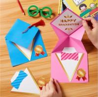 MTW-006 畢業禮帽賀卡手工diy製作材料包兒童創意畢業禮物