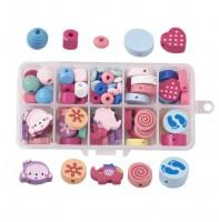 DIY-5076 兒童手工diy材料配件 彩色木珠散珠子混款套裝