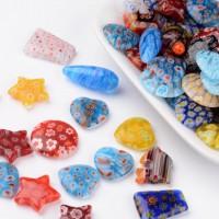 DIY-7014  千花玻璃珠混款鑽孔半鑽孔混合形狀彩色串珠-20粒裝