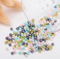 DIY-7022   4mm 6mm 8mm彩色玻璃珍珠混款 散珠子100/200/400粒裝
