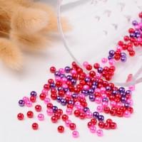 DIY-7089-91   4mm 6mm 8mm紅色混彩玻璃珍珠 diy散珠串珠100/200/400粒裝