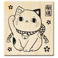 F335 - 楓木印章-百福好運招財貓/開運招財貓/貓咪