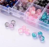 DIY-7015 6mm,8mm,10mm爆花玻璃珠子裂紋圓珠透明多色盒裝