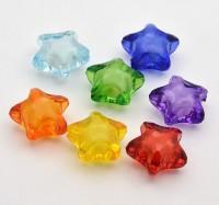 DIY-5054 彩色透明亞克力星星花串珠-100粒裝