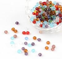 DIY-7034   4mm 6mm 8mm多規格切面玻璃珠子diy彩色串珠飾品配件100個裝