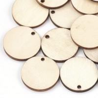 DIY-4002 2mm小孔麥色切割圓形木吊墜200個裝