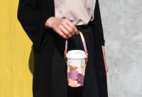 PB-80026-(01-04)  花布可調式提把咖啡杯提袋(附收納扣)